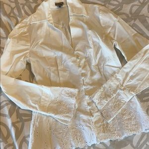 Ann Taylor Button up Embroidered Top